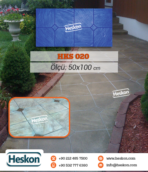 020 Slate With Diamond Concrete Pattern Stamp Baski Beton Hks20